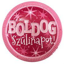 Rózsaszín Boldog Szülinapot tányér, 6 db/csomag
