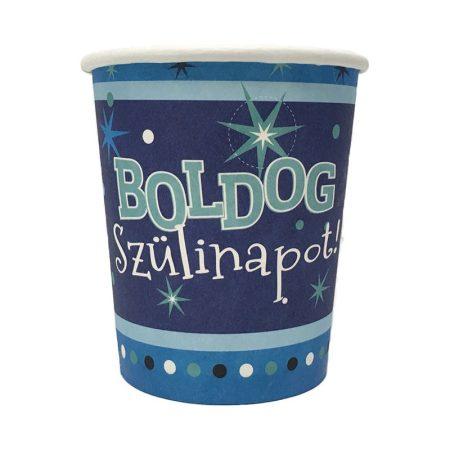 Kék Boldog Szülinapot pohár, 6 db/csomag