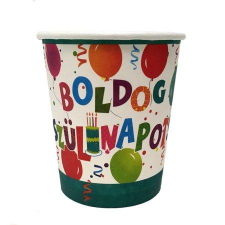 Jamboree Boldog Szülinapot pohár, 6 db/csomag