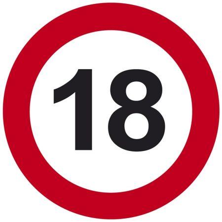 18-as sebességkorlátozó tábla
