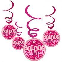 Rózsaszín Boldog Szülinapot függődekoráció, 6 db/csomag