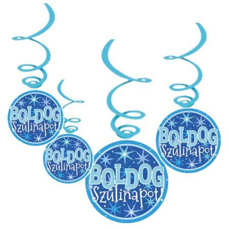 Kék Boldog Szülinapot függődekoráció, 6 db/csomag