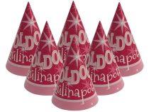 Rózsaszín Boldog Szülinapot csákó, 6 db/csomag