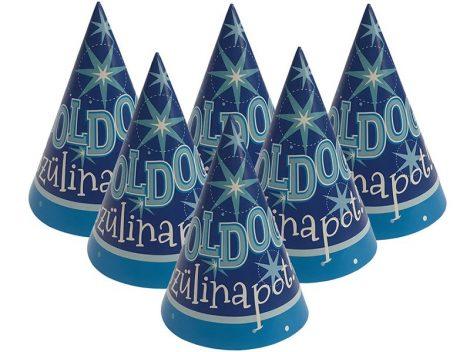 Kék Boldog Szülinapot csákó, 6 db/csomag