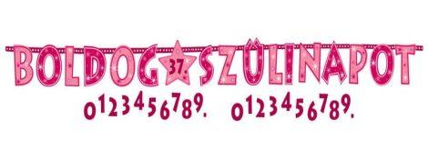Rózsaszín Boldog Szülinapot számozható betűfüzér