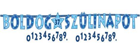 Kék Boldog Szülinapot számozható betűfüzér