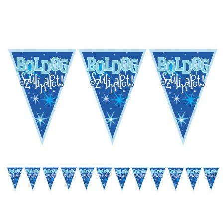 Kék Boldog Szülinapot zászlófüzér