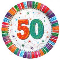Radiant 50-es szülinapi tányér, 6 db/csomag