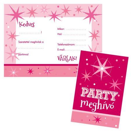 Rózsaszín parti meghívó borítékkal, 8 db/csomag