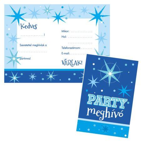 Kék parti meghívó borítékkal, 8 db/csomag