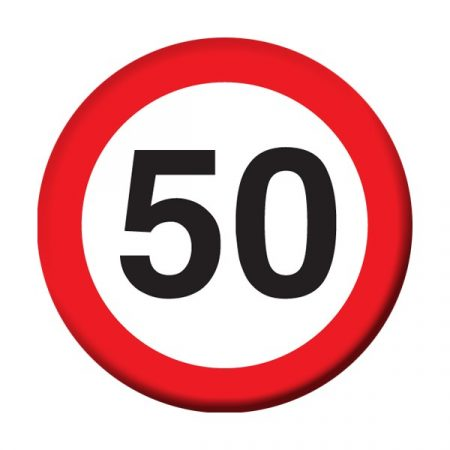 Sebességkorlátozó 50-es kitűző