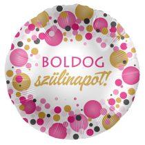 43 cm-es rózsaszín konfettis Boldog szülinapot! fólia lufi