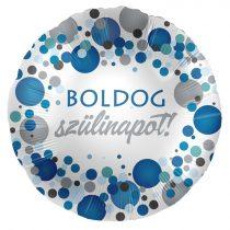 43 cm-es kék konfettis Boldog szülinapot! fólia lufi