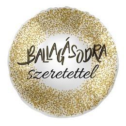 43 cm-es Ballagásodra szeretettel arany konfettis fólia lufi