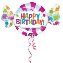 101 cm*63 cm-es cukorka alakú Happy Birthday Super Shape fólia lufi