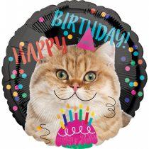 43 cm-es cicás Happy Birthday! fólia lufi