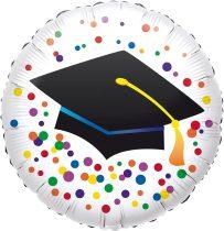 46 cm-es Diploma kalap mintás pöttyös fólia lufi