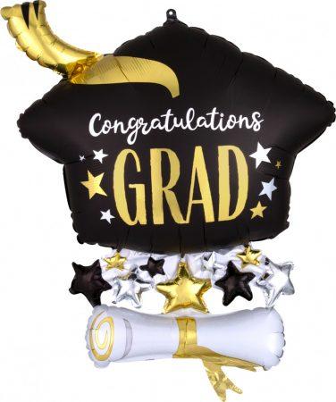 63 cm-es Diploma kalap Congratulations Grad Super Shape fólia lufi