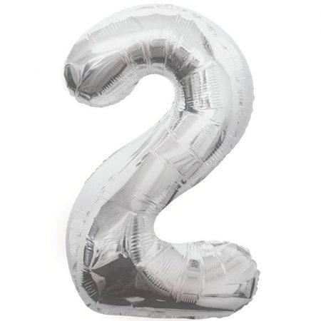 86 cm-es 2-es ezüst szám fólia lufi