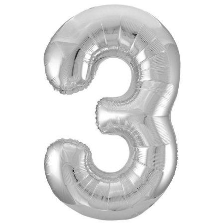 86 cm-es 3-as ezüst szám fólia lufi