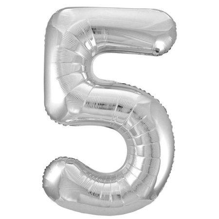 86 cm-es 5-ös ezüst szám fólia lufi