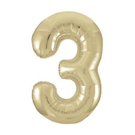 86 cm-es 3-as arany szám fólia lufi