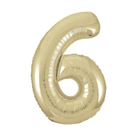 86 cm-es 6-os arany szám fólia lufi