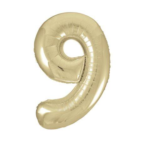 86 cm-es 9-es arany szám fólia lufi