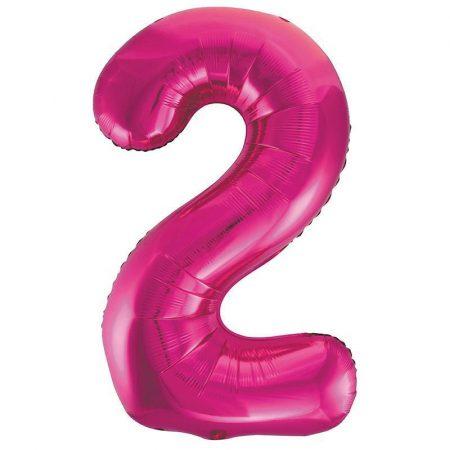 86 cm-es 2-es rózsaszín szám fólia lufi