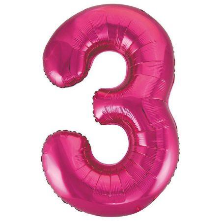 86 cm-es 3-as rózsaszín szám fólia lufi