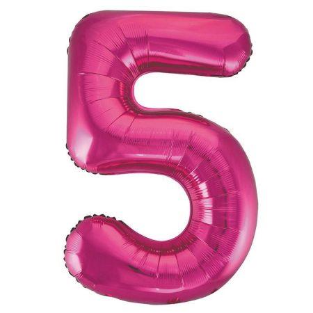86 cm-es 5-ös rózsaszín szám fólia lufi