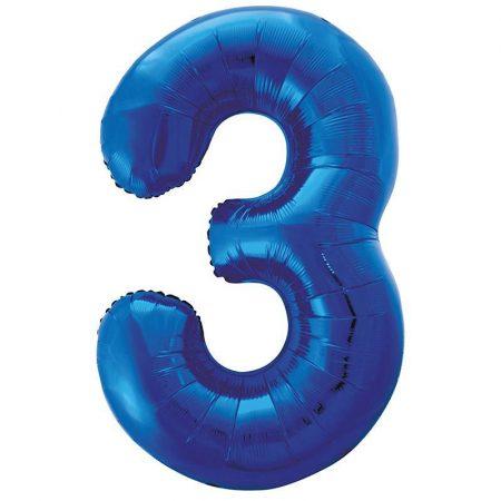 86 cm-es 3-as kék szám fólia lufi