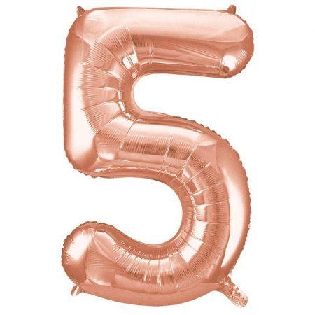 86 cm-es 5-ös rozé arany szám fólia lufi