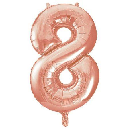 86 cm-es 8-as rozé arany szám fólia lufi