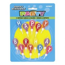 Happy Birthday feliratú lufis tortagyertya, 13 db/csomag