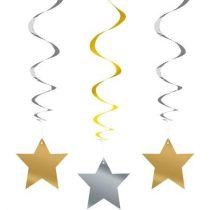 Arany és ezüst csillagos spirális függő dekoráció, 3 db/csomag