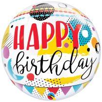 56 cm-es színes pöttyös Happy Birthday Bubble lufi