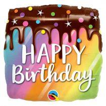 46 cm-es csokitorta Happy Birthday fólia lufi