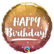 46 cm-es arany és rózsaarany Happy Birthday! fólia lufi