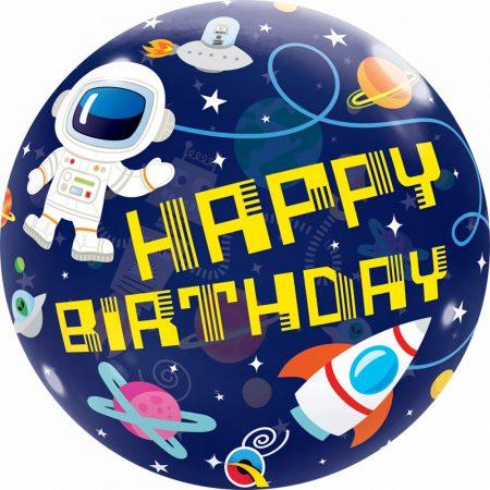 56 cm-es űrhajós Happy Birthday Bubble lufi