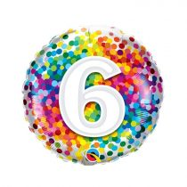 46 cm-es 6-os színes konfettis fólia lufi