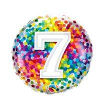 46 cm-es 7-es színes konfettis fólia lufi