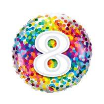 46 cm-es 8-as színes konfettis fólia lufi