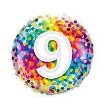 46 cm-es 9-es színes konfettis fólia lufi