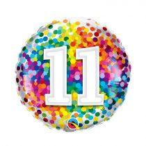 46 cm-es 11-es színes konfettis fólia lufi