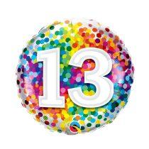 46 cm-es 13-as színes konfettis fólia lufi