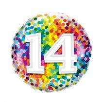 46 cm-es 14-es színes konfettis fólia lufi