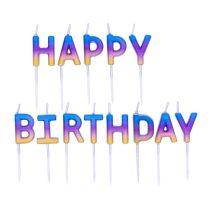 Happy Birthday szivárvány ombre szülinapi tortagyertya