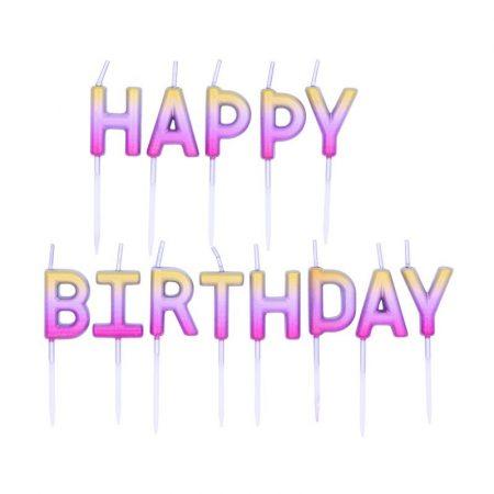 Happy Birthday rosegold ombre szülinapi tortagyertya