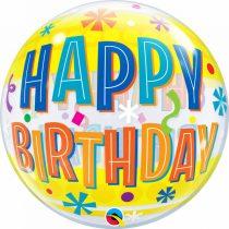 56 cm-es sárga virágos Happy Birthday Bubble lufi